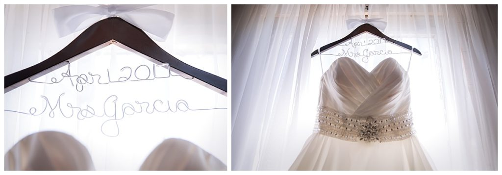 Wedding dress hanging on a custom hanger